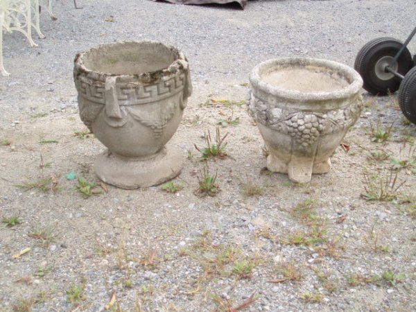 8: Three Old Concrete Planters