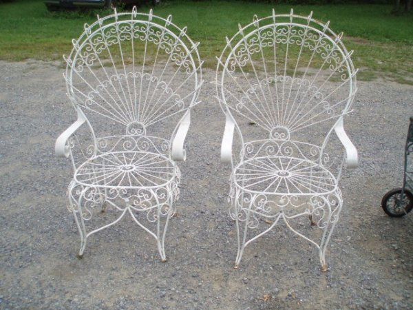 9: Two Wire & Iron Peacock Chairs