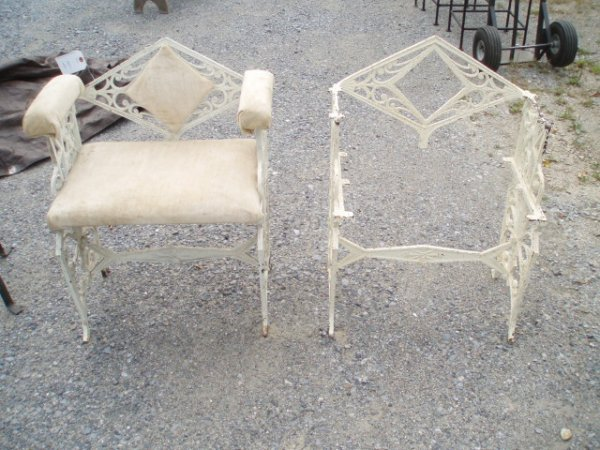 10: Two Art Deco Cast Iron Porch Chairs-one missing cus
