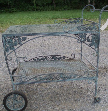 13: High Quality Cast Iron Tea cart table w/Glass Top