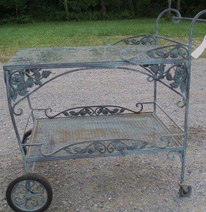 13: High Quality Cast Iron Tea cart table w/Glass Top