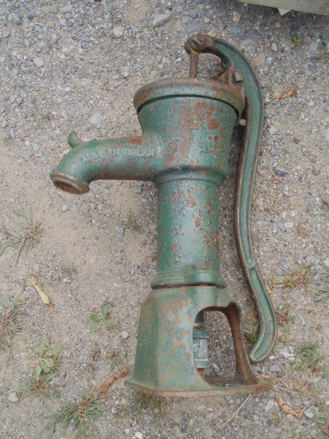 14: Old hand Water Pump in Green Paint plus Lot of Orna