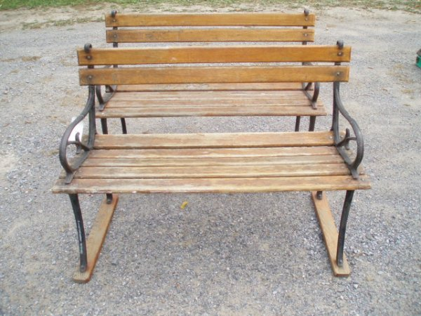 16: Two Cast Iron Park Benches w/Wooden Seats & Backs