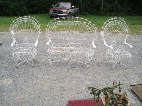 19: Three-Piece Wire & Iron Ornamental Garden Peacock F