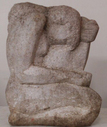 248: Beautiful stone sculpture of naked lady in kneelin