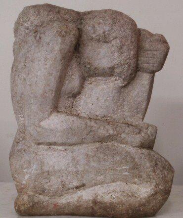 248: Beautiful stone sculpture of naked lady in kneelin
