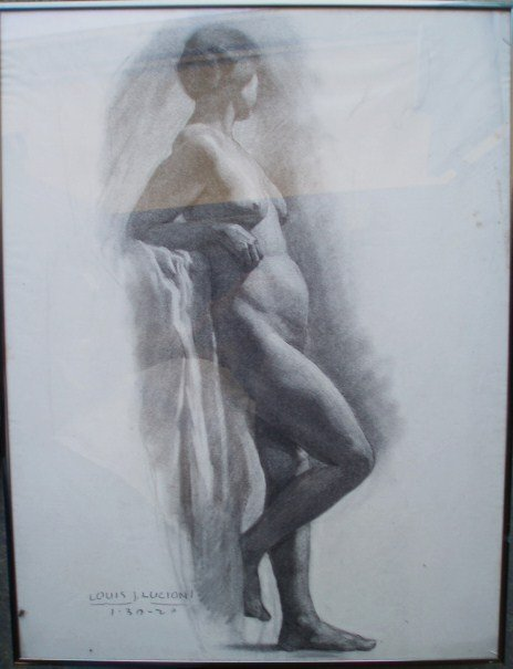 331: Charcoal Drawing of Standing Nude - signed Louis J