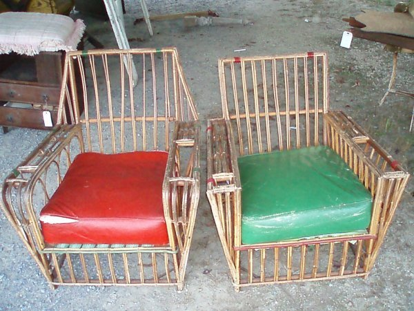1003: Two Bamboo Porch Chairs w/Magazine Holders in Arm