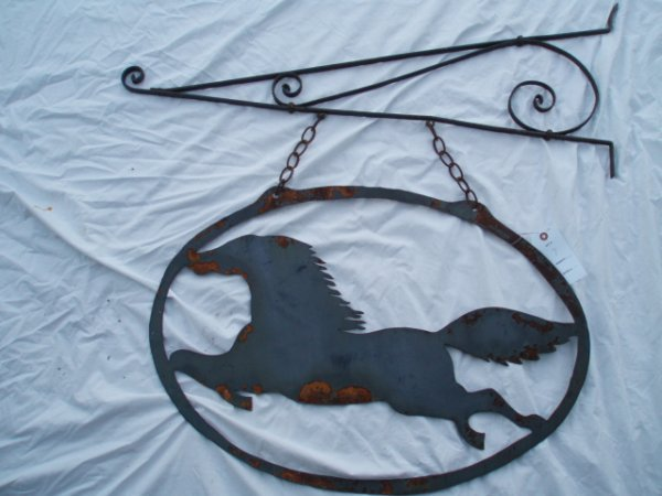 1007: Wrought Iron & Tin Sign Holder w/Figural Running