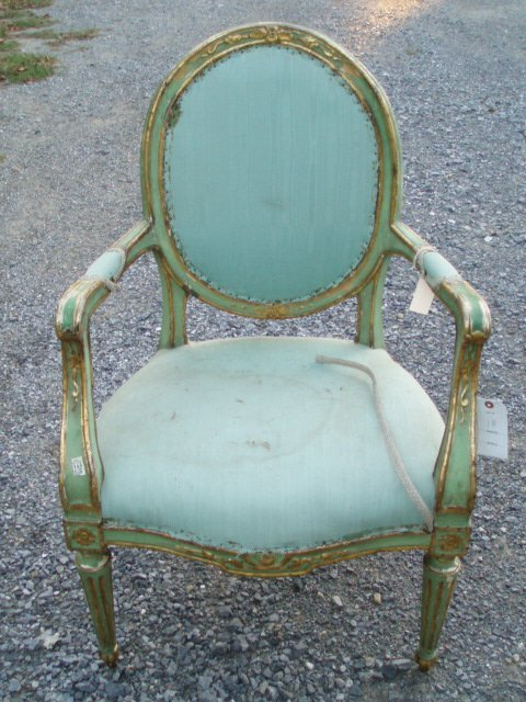 1018: Two 19th c. French Armchairs in Old Gold and Gree