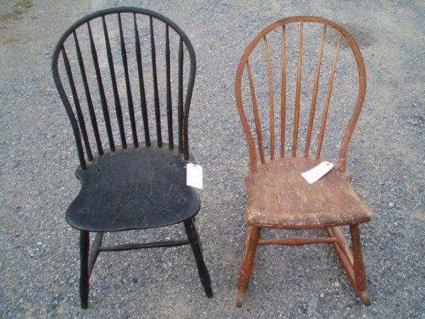 1019: Bowback Windsor Side Chair in Black Paint plus Bo