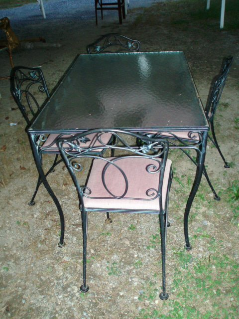 """1023: Wrought Iron Glass-Top Patio Table (approx. 48"""" x"""