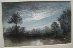 1114 Gouache  Trees by Pond in Moonlight  signed Fre