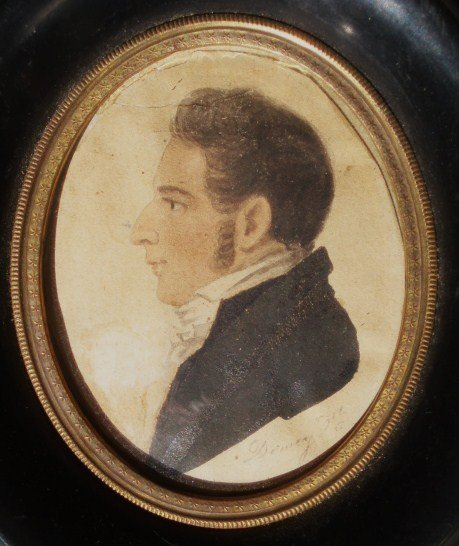 1144: Miniature Watercolor of a Gentleman - American Sc