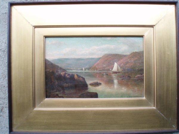 1251: O/C - signed on reverse: Hudson River Near Peeksk