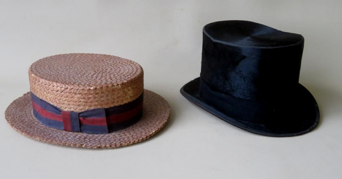 Two gents hats including a beaver top hat signed McCue
