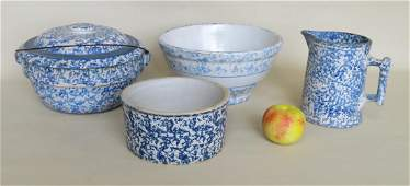 Four pieces of blue sponge decorated stoneware, mid to