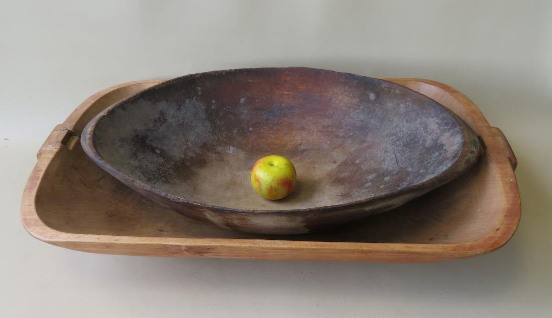 Two primitive 19th century bowls including: 1) Oval