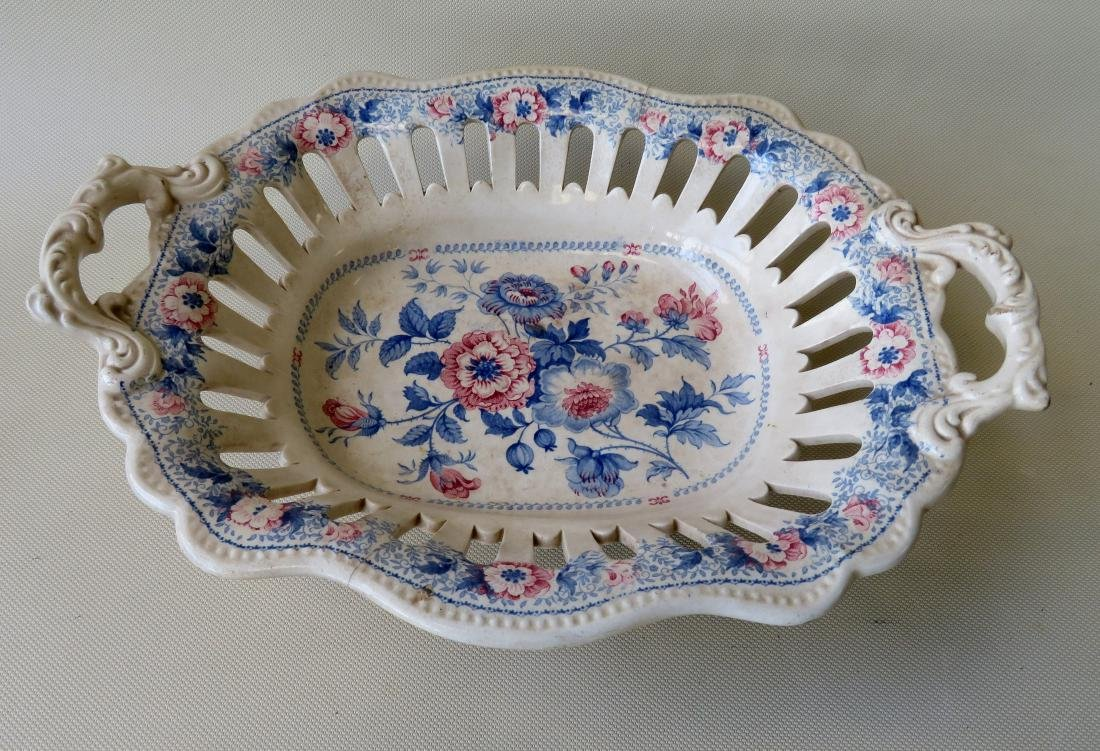 Small soft paste transferware reticulated bowl with