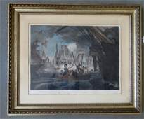 """Large folio hand colored engraving entitled """"PERRY'S"""