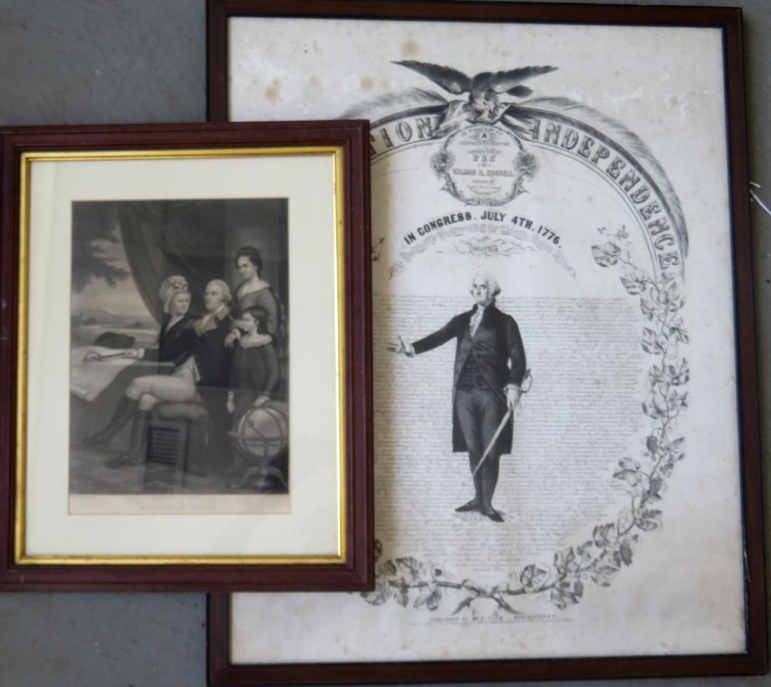 Two George Washington engravings including: 1) Large