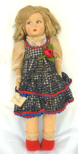 "2: 14"" Lenci Doll, all original w/paper tag & sign on f"