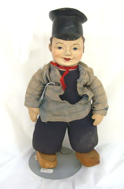 "5: 12"" Dutch Boy Doll, pottery hand painted head, cloth"