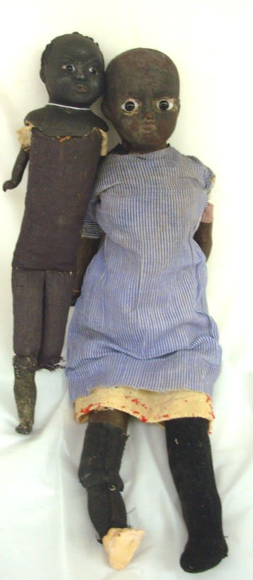 "6: Lot of 2 Black Papier Mache Dolls, 12"" w/glass eyes,"
