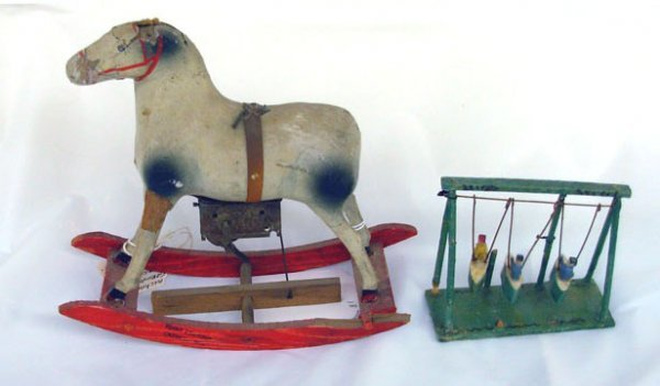 10: Lot of 2 - Mechanical German Rocking Horse Wind-up