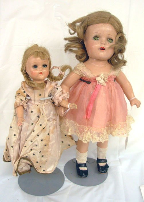 "14: Lot of 2 Dolls, 11"" Mdm Alexander, slight crazing,"