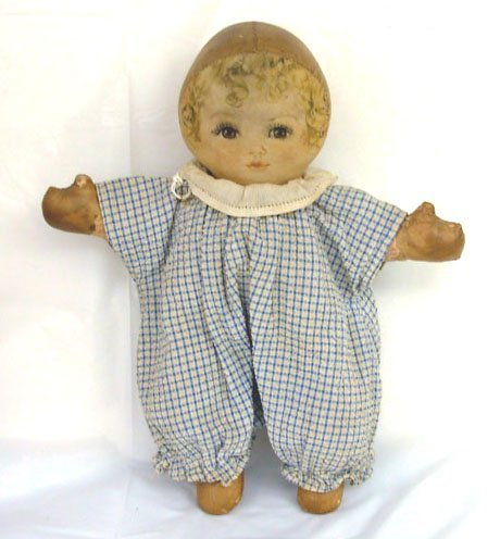 "15: 12"" Maud Tausey Fangel Cloth Doll, oil cloth body,"