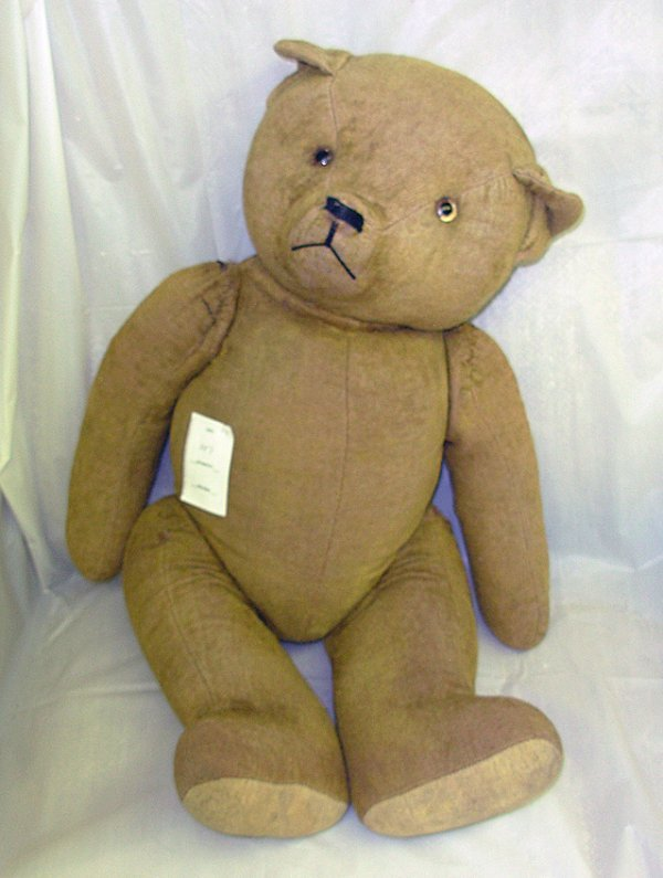 "107: Old jointed Teddy bear - 23"". Worn, minor sewing r"