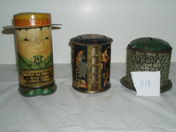 518: Lot of Eight Tin Banks ca. 1910-1950