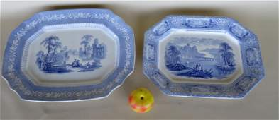 Two Staffordshire octagonal shaped blue and white