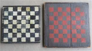 Two handmade American game boards in old paint