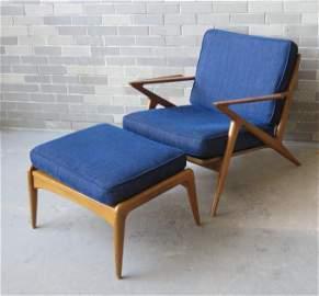 Poul Jensen, Danish designer. Z-chair plus ottoman,