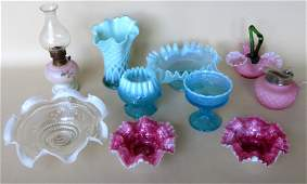 Grouping of 9 pieces of Victorian art glass including