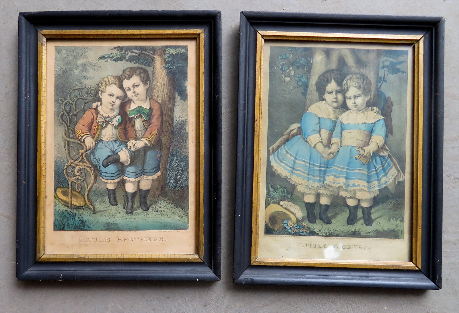 Two children Currier & Ives lithographs entitled