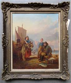 O/C Fisherman with family signed W.H. Pike (William
