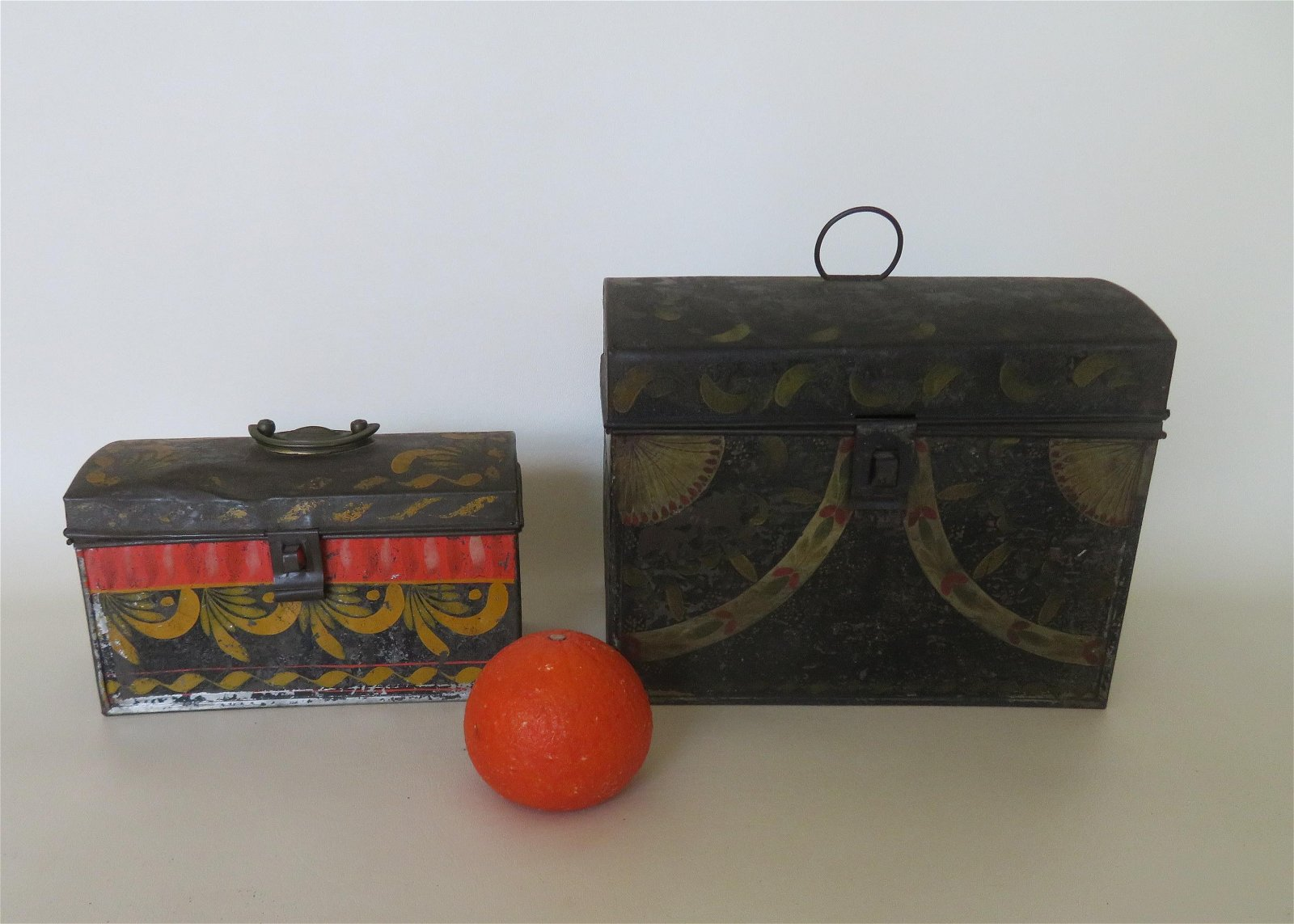 Two good toleware boxes in original paint, early to mid