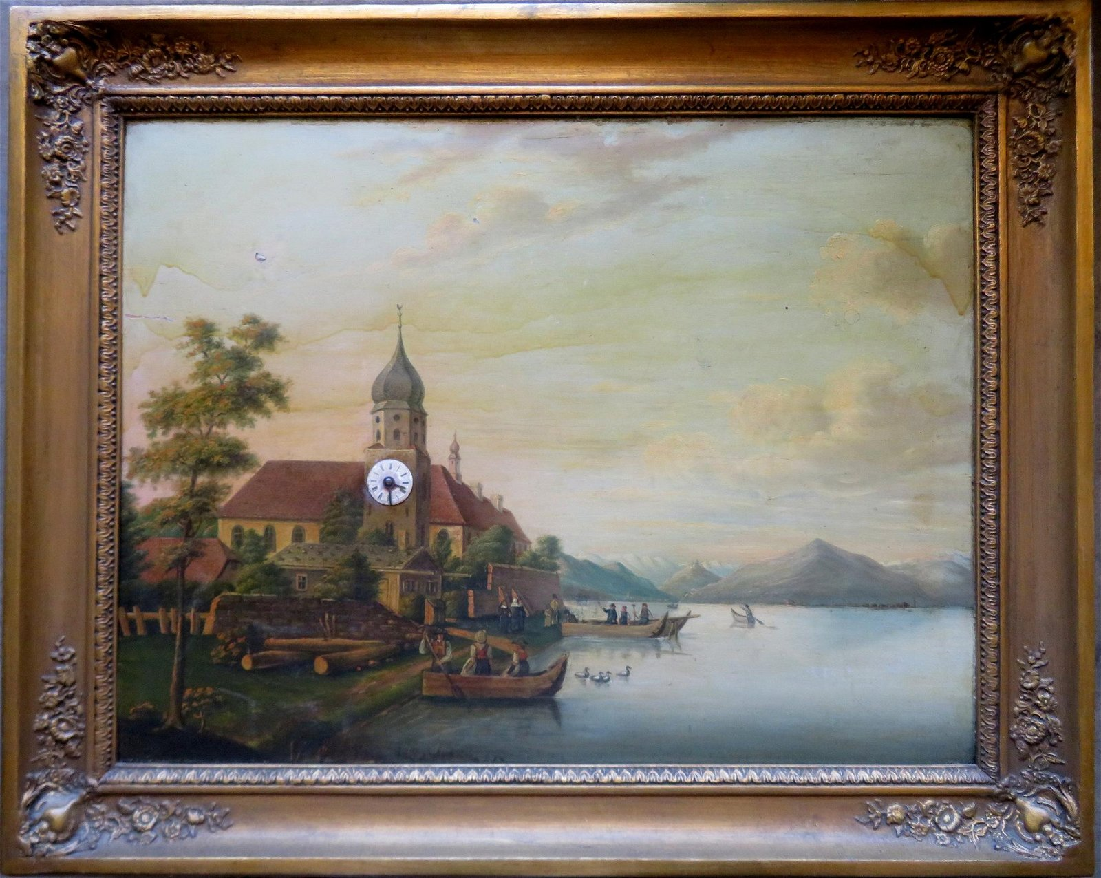 An oil painting with built in clock and music box,