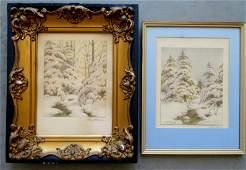 Charles Grant Davidson, NY, 1865-1945. Two W/C Winter
