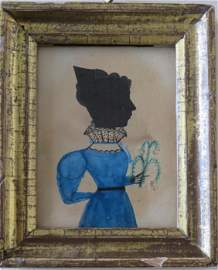 Puffy sleeve folkart portrait. Miniature watercolor and