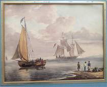WC Two sailing vessels near shore with men and