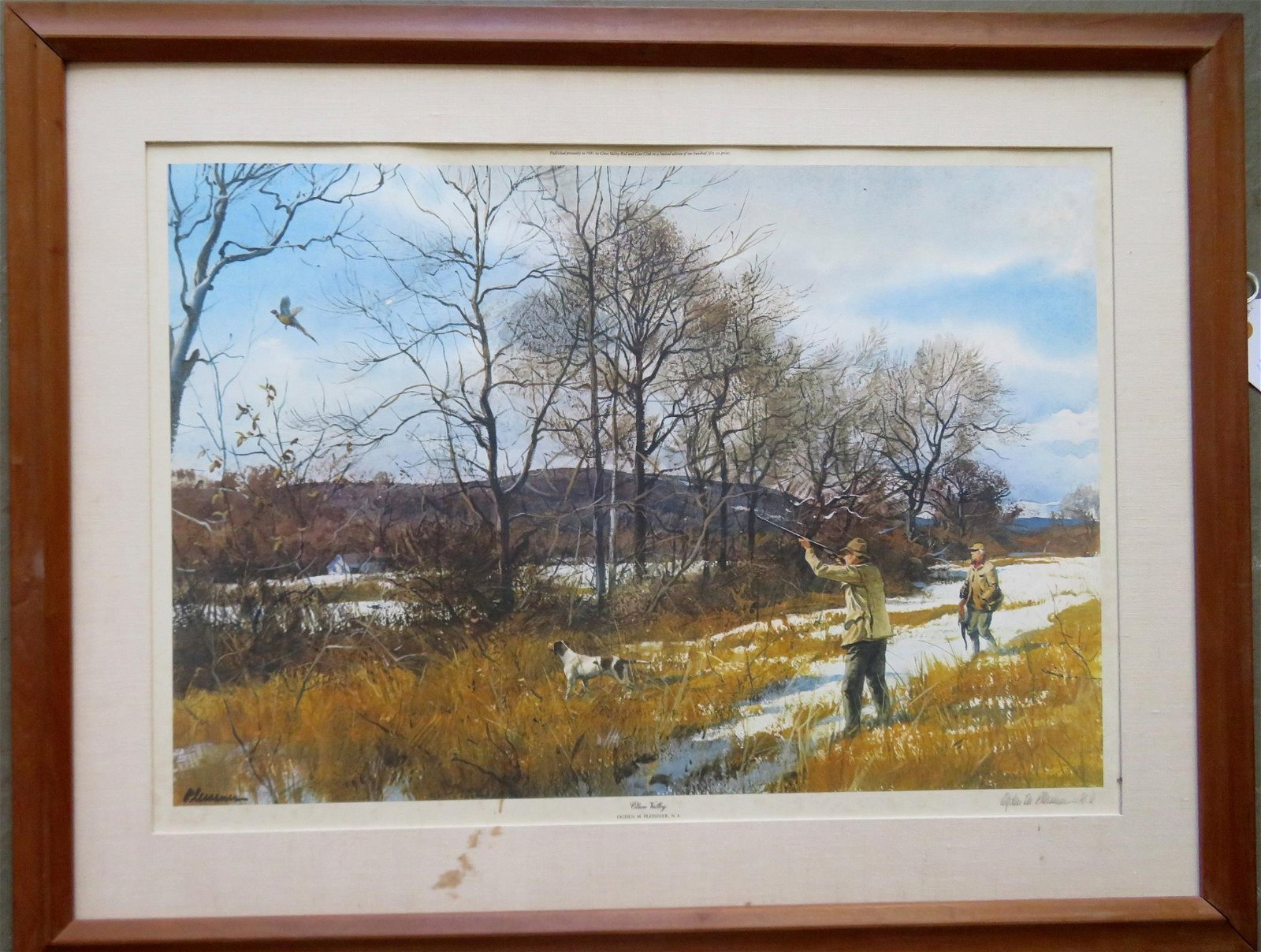 Limited edition sporting print of pheasant hunters in