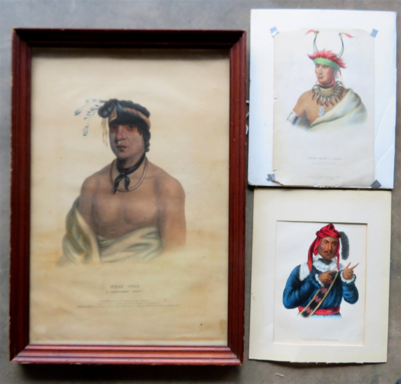 Three 19th century Native American hand colored