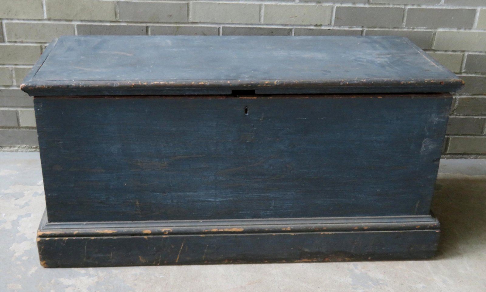 Early blanket box in blue/gray paint that appears to be