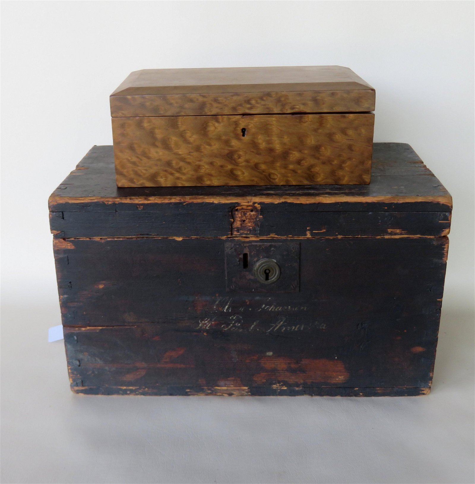 Two country boxes including a leopard wood dresser box