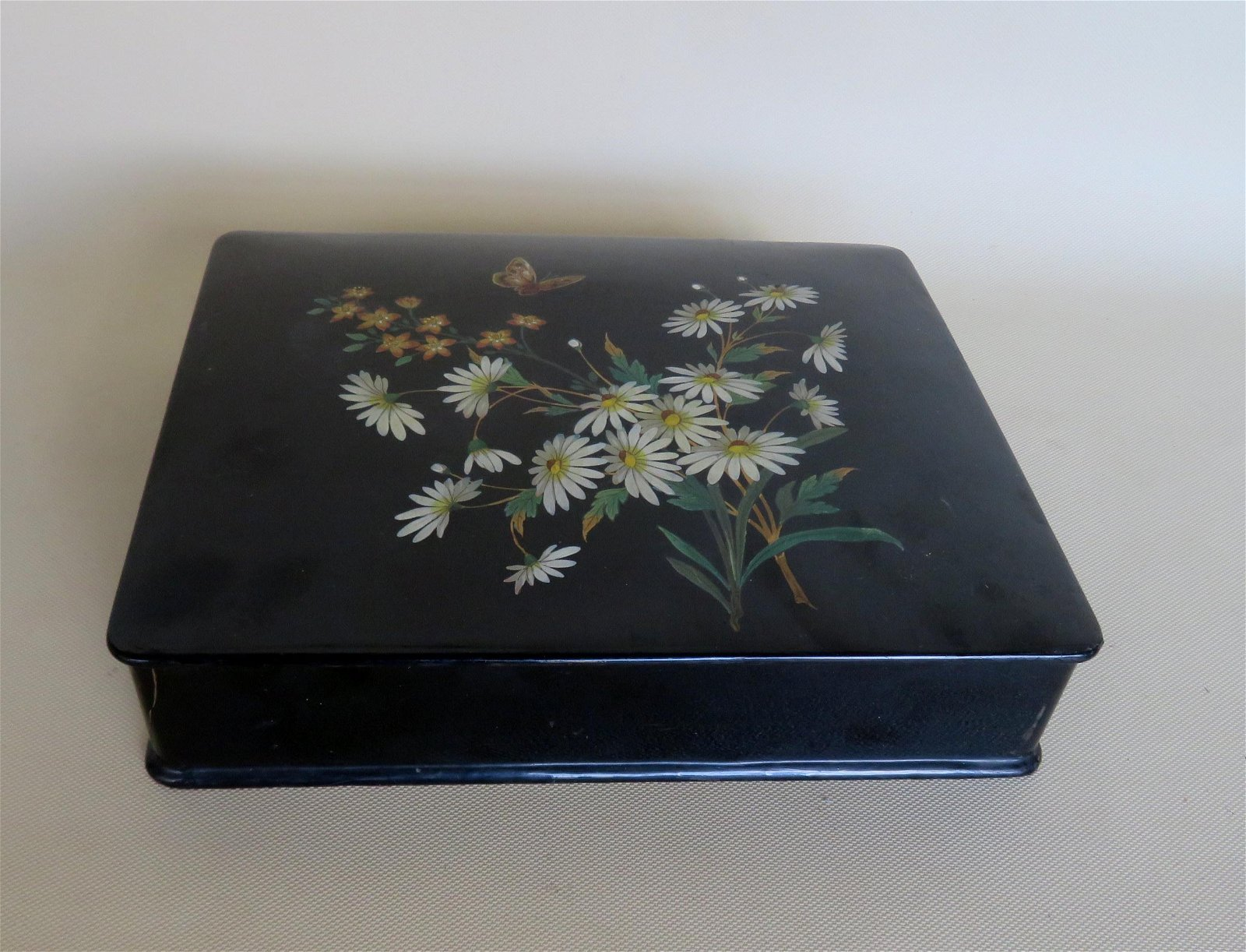 Victorian era paper mache sewing box - hand painted.