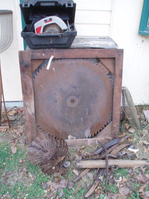 2: Timber saw blade, potato shovel, metal and wood harn